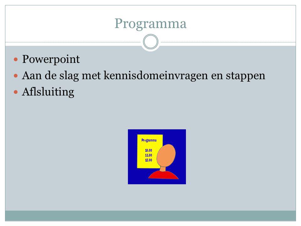 Programma  Powerpoint  Aan de slag met kennisdomeinvragen en stappen  Aflsluiting