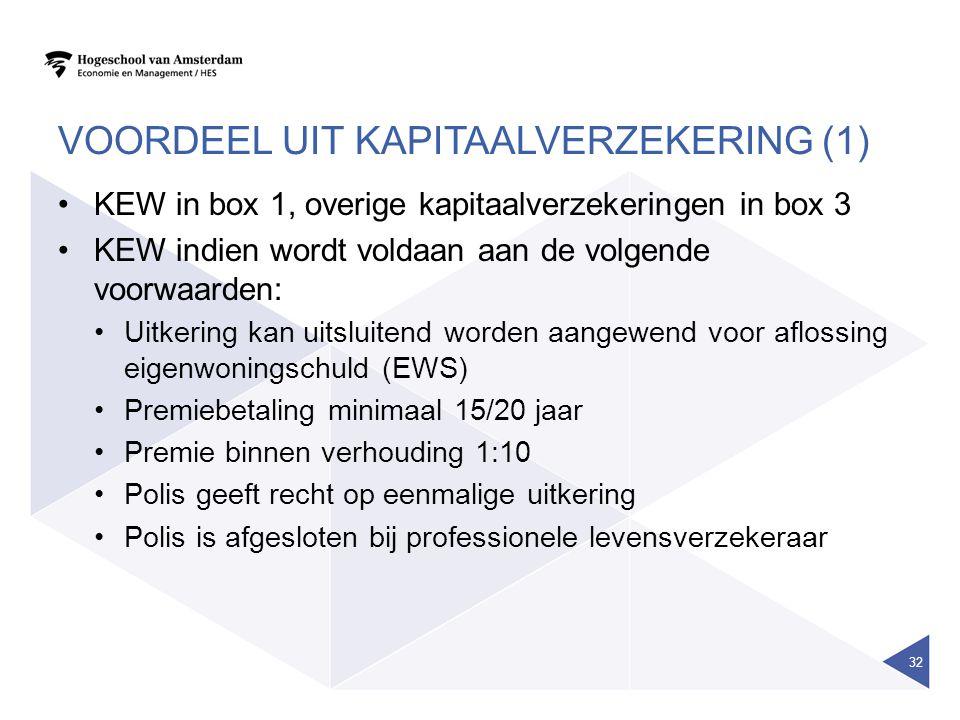 VOORDEEL UIT KAPITAALVERZEKERING (1) •KEW in box 1, overige kapitaalverzekeringen in box 3 •KEW indien wordt voldaan aan de volgende voorwaarden: •Uitkering kan uitsluitend worden aangewend voor aflossing eigenwoningschuld (EWS) •Premiebetaling minimaal 15/20 jaar •Premie binnen verhouding 1:10 •Polis geeft recht op eenmalige uitkering •Polis is afgesloten bij professionele levensverzekeraar 32
