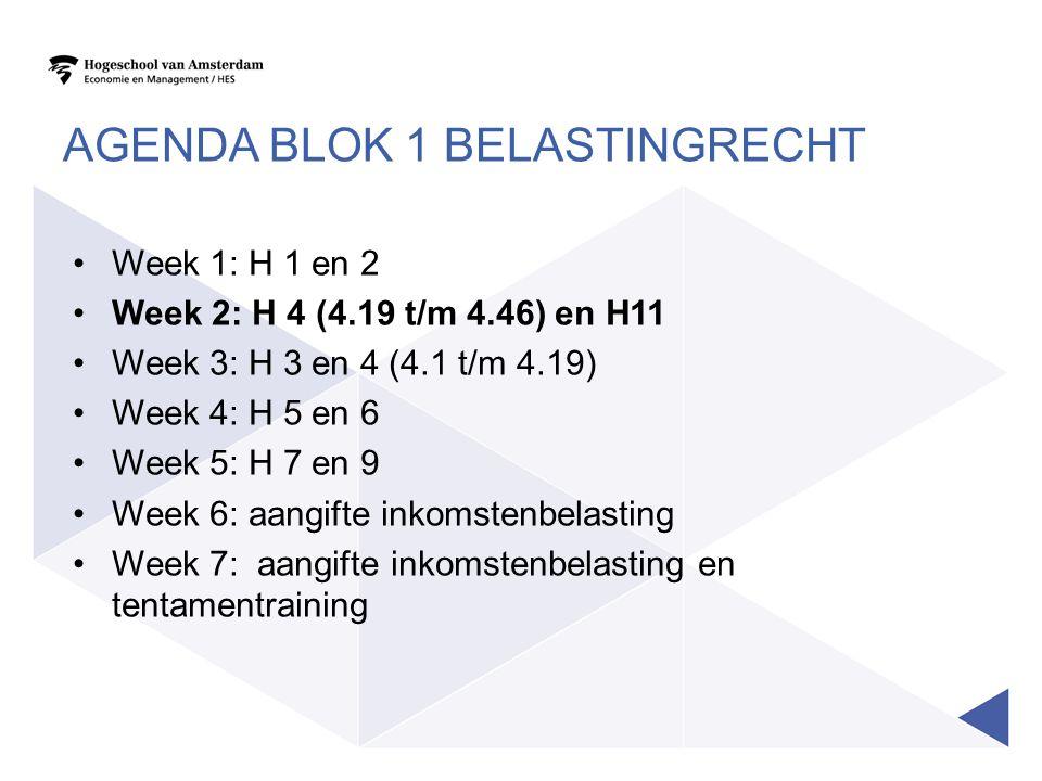 AGENDA BLOK 1 BELASTINGRECHT •Week 1: H 1 en 2 •Week 2: H 4 (4.19 t/m 4.46) en H11 •Week 3: H 3 en 4 (4.1 t/m 4.19) •Week 4: H 5 en 6 •Week 5: H 7 en 9 •Week 6: aangifte inkomstenbelasting •Week 7: aangifte inkomstenbelasting en tentamentraining