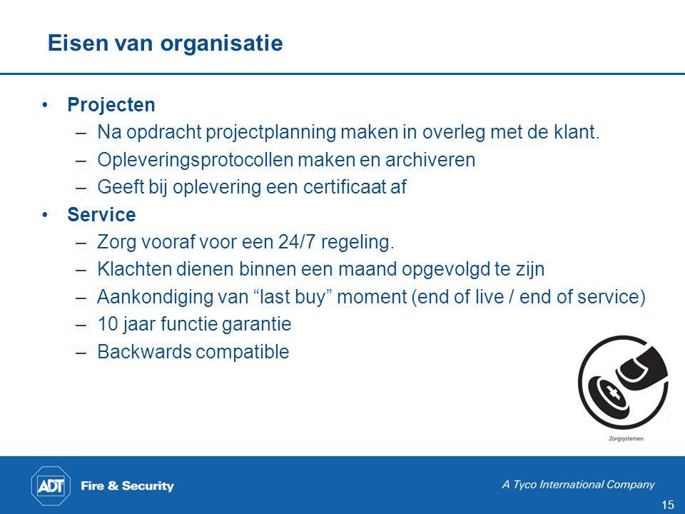 15 •Projecten –Na opdracht projectplanning maken in overleg met de klant. –Opleveringsprotocollen maken en archiveren –Geeft bij oplevering een certif
