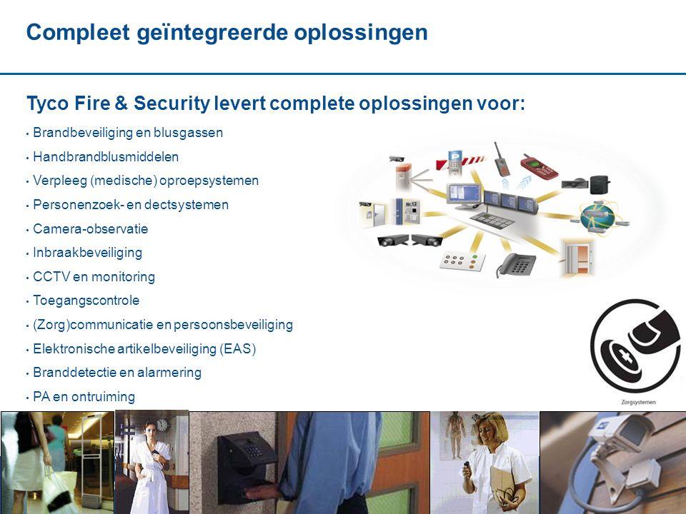 20 Compleet geïntegreerde oplossingen Tyco Fire & Security levert complete oplossingen voor: • Brandbeveiliging en blusgassen • Handbrandblusmiddelen • Verpleeg (medische) oproepsystemen • Personenzoek- en dectsystemen • Camera-observatie • Inbraakbeveiliging • CCTV en monitoring • Toegangscontrole • (Zorg)communicatie en persoonsbeveiliging • Elektronische artikelbeveiliging (EAS) • Branddetectie en alarmering • PA en ontruiming