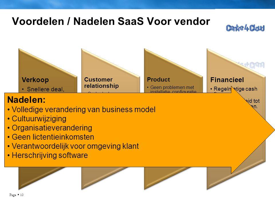 Page  10 Voordelen / Nadelen SaaS Voor vendor Verkoop •Snellere deal, •Kortere verkoopcyclus •Upselling mogelijkheden •Meer markt potentie Customer r