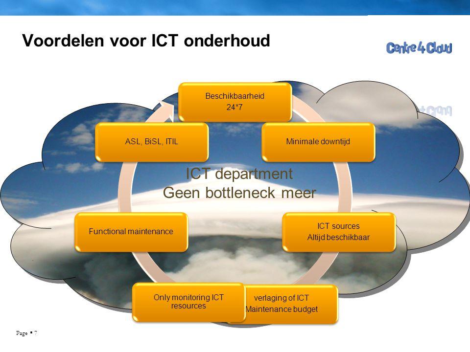 Page  7 Voordelen voor ICT onderhoud Beschikbaarheid 24*7 Minimale downtijd ICT sources Altijd beschikbaar verlaging of ICT Maintenance budget Only m