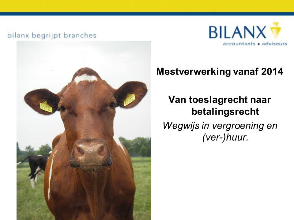 Mestverwerking vanaf 2014 Van toeslagrecht naar betalingsrecht Wegwijs in vergroening en (ver-)huur.