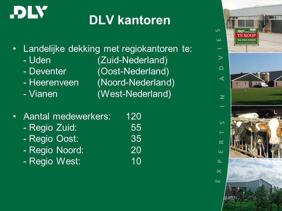 DLV kantoren •Landelijke dekking met regiokantoren te: - Uden(Zuid-Nederland) - Deventer(Oost-Nederland) - Heerenveen(Noord-Nederland) - Vianen(West-Nederland) •Aantal medewerkers:120 - Regio Zuid: 55 - Regio Oost: 35 - Regio Noord: 20 - Regio West: 10