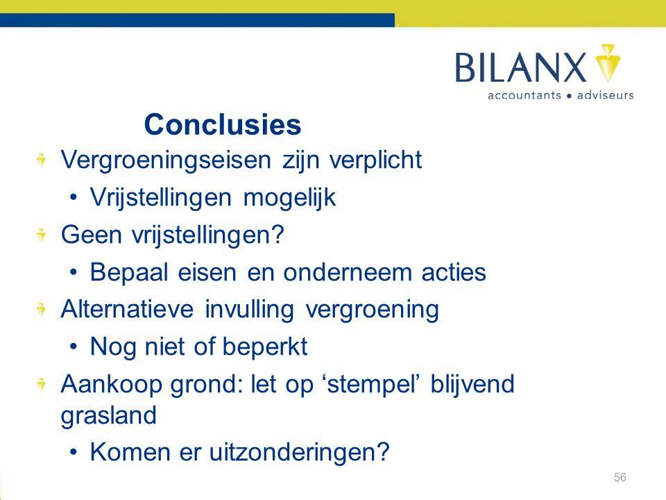 Conclusies Vergroeningseisen zijn verplicht •Vrijstellingen mogelijk Geen vrijstellingen.