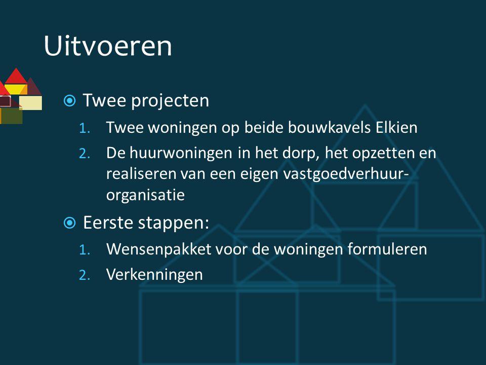 Uitvoeren  Twee projecten 1.Twee woningen op beide bouwkavels Elkien 2.