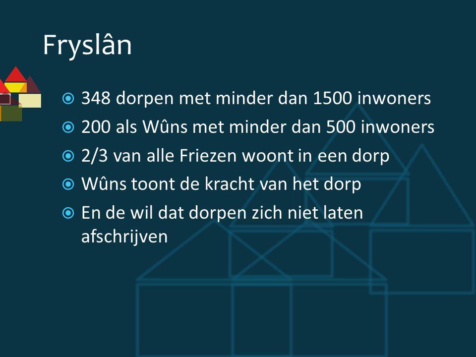 Fryslân  348 dorpen met minder dan 1500 inwoners  200 als Wûns met minder dan 500 inwoners  2/3 van alle Friezen woont in een dorp  Wûns toont de kracht van het dorp  En de wil dat dorpen zich niet laten afschrijven