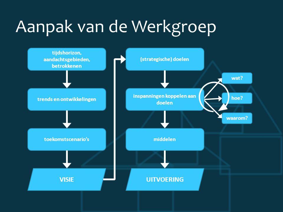 Aanpak van de Werkgroep tijdshorizon, aandachtsgebieden, betrokkenen trends en ontwikkelingen toekomstscenario's VISIE (strategische) doelen wat.