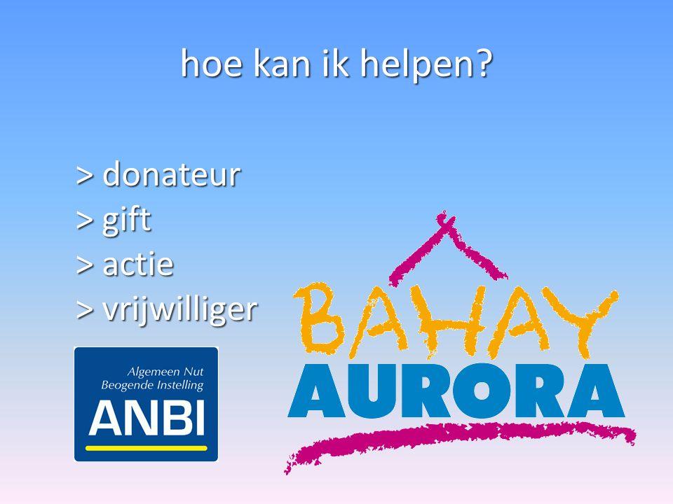 hoe kan ik helpen? > donateur > gift > actie > vrijwilliger