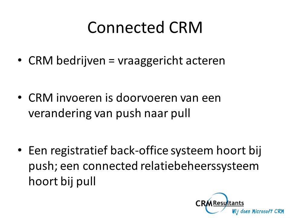 Connected CRM • CRM bedrijven = vraaggericht acteren • CRM invoeren is doorvoeren van een verandering van push naar pull • Een registratief back-offic