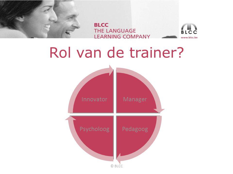 Rol van de trainer Manager PedagoogPsycholoog Innovator © BLCC
