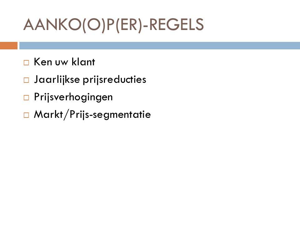 AANKO(O)P(ER)-REGELS  Ken uw klant  Jaarlijkse prijsreducties  Prijsverhogingen  Markt/Prijs-segmentatie