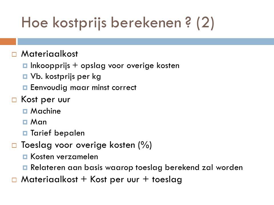 Hoe kostprijs berekenen .(2)  Materiaalkost  Inkoopprijs + opslag voor overige kosten  Vb.