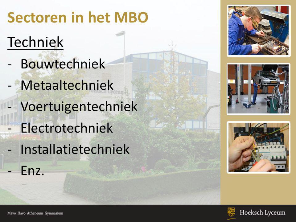 Sectoren in het MBO Techniek -Bouwtechniek -Metaaltechniek -Voertuigentechniek -Electrotechniek -Installatietechniek -Enz.