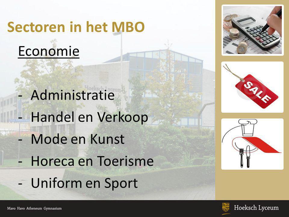 Sectoren in het MBO Economie -Administratie -Handel en Verkoop -Mode en Kunst -Horeca en Toerisme -Uniform en Sport