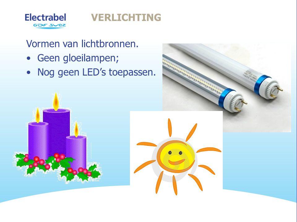 VERLICHTING Vormen van lichtbronnen. •Geen gloeilampen; •Nog geen LED's toepassen.