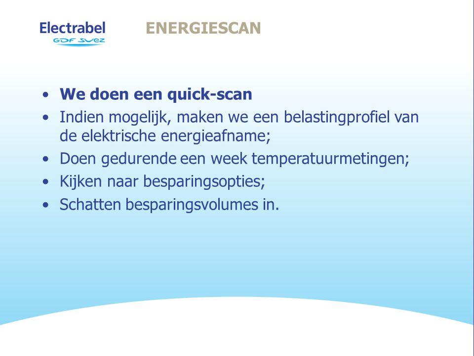 ENERGIESCAN •We doen een quick-scan •Indien mogelijk, maken we een belastingprofiel van de elektrische energieafname; •Doen gedurende een week temperatuurmetingen; •Kijken naar besparingsopties; •Schatten besparingsvolumes in.
