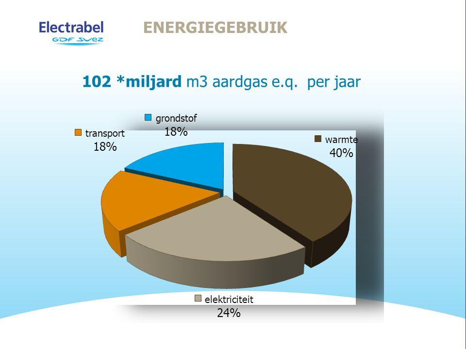 ENERGIEGEBRUIK 102 *miljard m3 aardgas e.q. per jaar