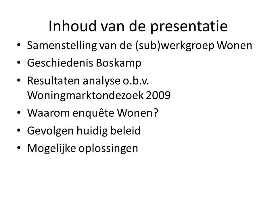 Inhoud van de presentatie • Samenstelling van de (sub)werkgroep Wonen • Geschiedenis Boskamp • Resultaten analyse o.b.v. Woningmarktondezoek 2009 • Wa