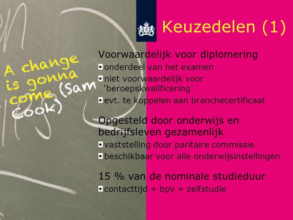 Keuzedelen (1) Voorwaardelijk voor diplomering onderdeel van het examen niet voorwaardelijk voor 'beroepskwalificering' evt.