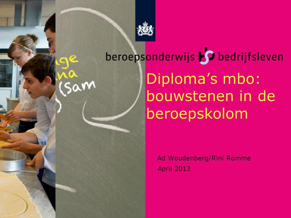 Diploma's mbo: bouwstenen in de beroepskolom Ad Woudenberg/Rini Romme April 2013