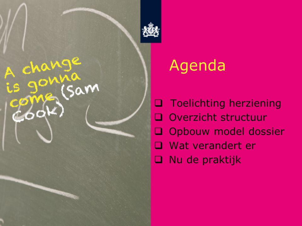 Agenda  Toelichting herziening  Overzicht structuur  Opbouw model dossier  Wat verandert er  Nu de praktijk
