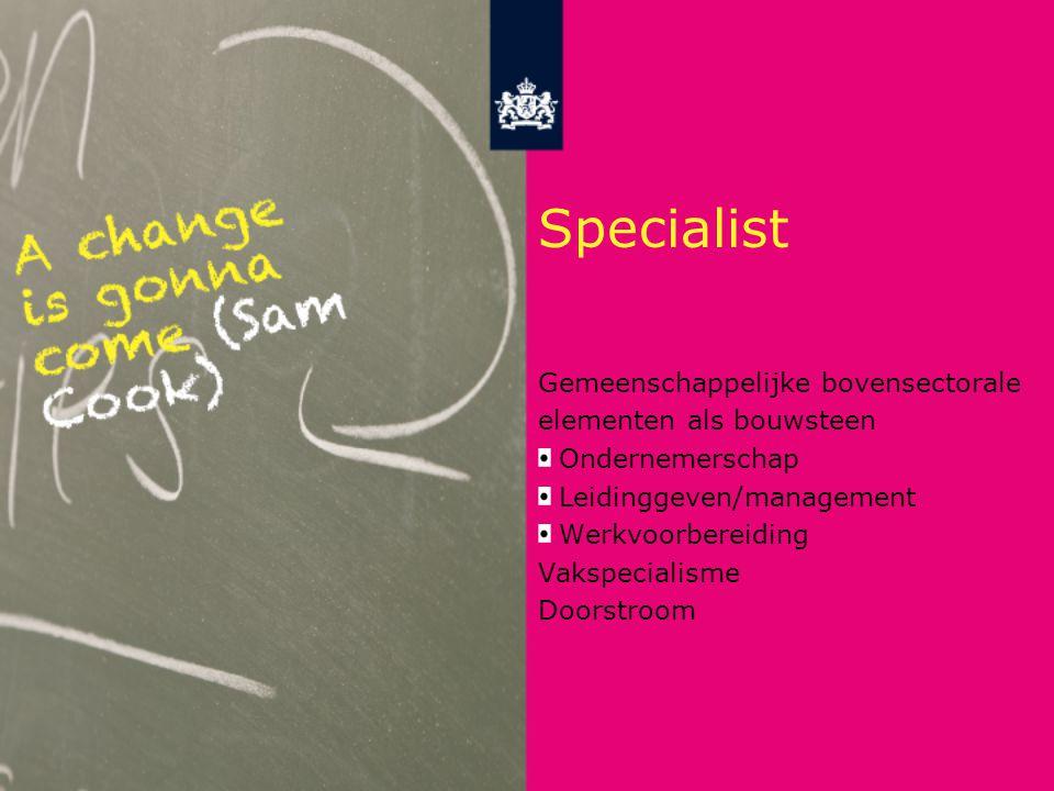 Specialist Gemeenschappelijke bovensectorale elementen als bouwsteen Ondernemerschap Leidinggeven/management Werkvoorbereiding Vakspecialisme Doorstroom