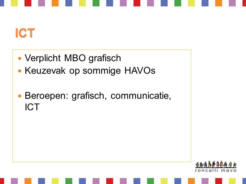 ICT  Verplicht MBO grafisch  Keuzevak op sommige HAVOs  Beroepen: grafisch, communicatie, ICT