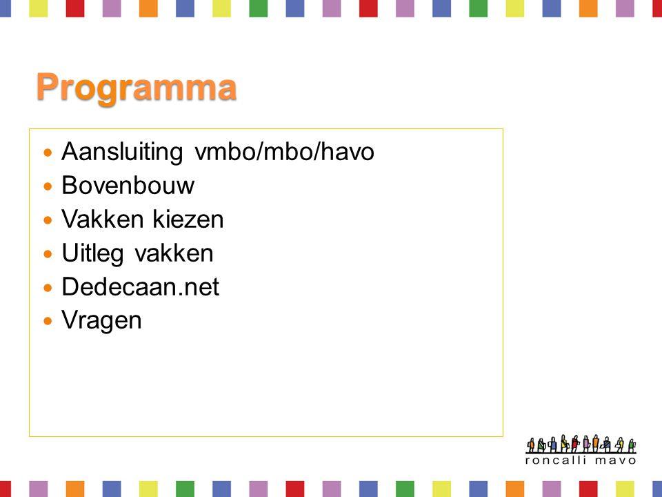 Programma  Aansluiting vmbo/mbo/havo  Bovenbouw  Vakken kiezen  Uitleg vakken  Dedecaan.net  Vragen