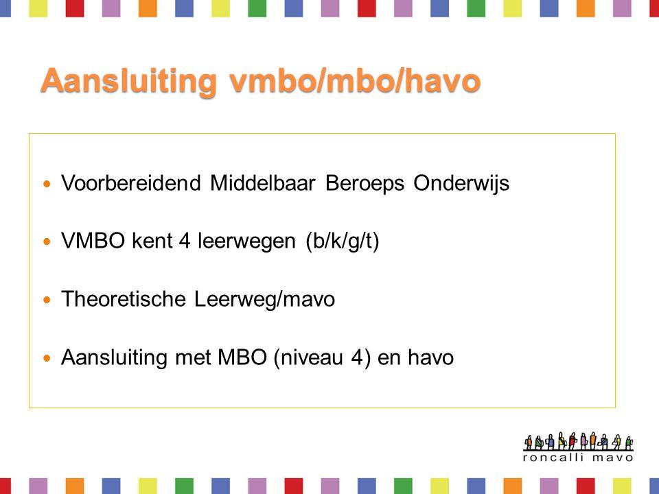 Aansluiting vmbo/mbo/havo  Voorbereidend Middelbaar Beroeps Onderwijs  VMBO kent 4 leerwegen (b/k/g/t)  Theoretische Leerweg/mavo  Aansluiting met