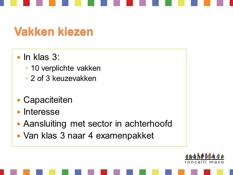 In de 3e klas krijgen alle leerlingen:  Nederlands  Engels  CKV  Bewegingsonderwijs  Wiskunde  NaSk2 (=scheikunde)  Biologie  Economie  Tekenen  Geschiedenis