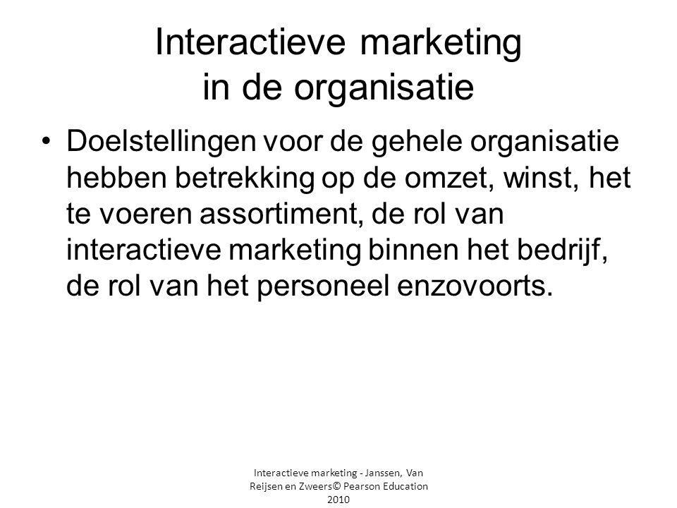 Interactieve marketing - Janssen, Van Reijsen en Zweers© Pearson Education 2010 Interactieve marketing in de organisatie •Doelstellingen voor de gehel