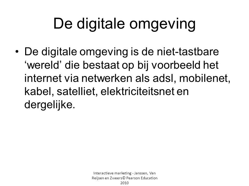 Interactieve marketing - Janssen, Van Reijsen en Zweers© Pearson Education 2010 De digitale omgeving •De digitale omgeving is de niet-tastbare 'wereld