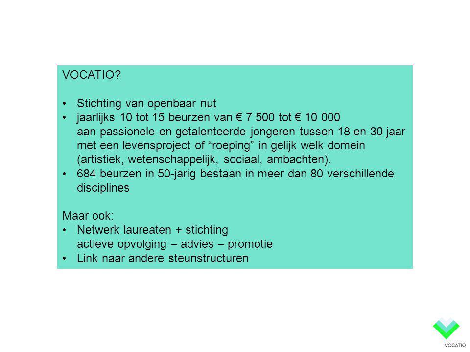 VOCATIO? •Stichting van openbaar nut •jaarlijks 10 tot 15 beurzen van € 7 500 tot € 10 000 aan passionele en getalenteerde jongeren tussen 18 en 30 ja