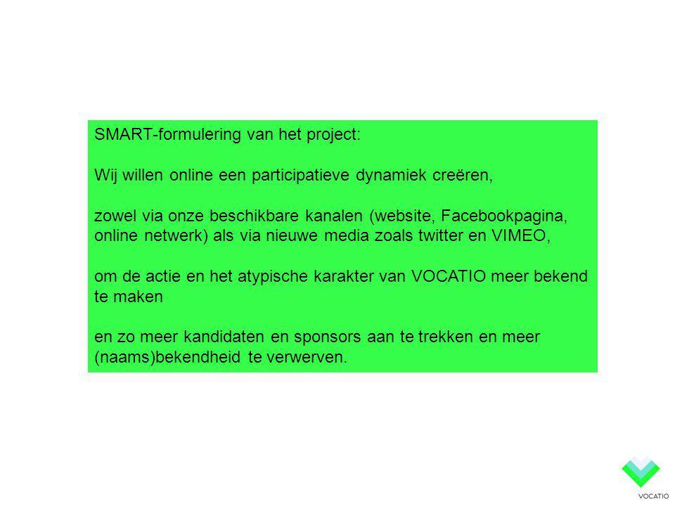 SMART-formulering van het project: Wij willen online een participatieve dynamiek creëren, zowel via onze beschikbare kanalen (website, Facebookpagina,