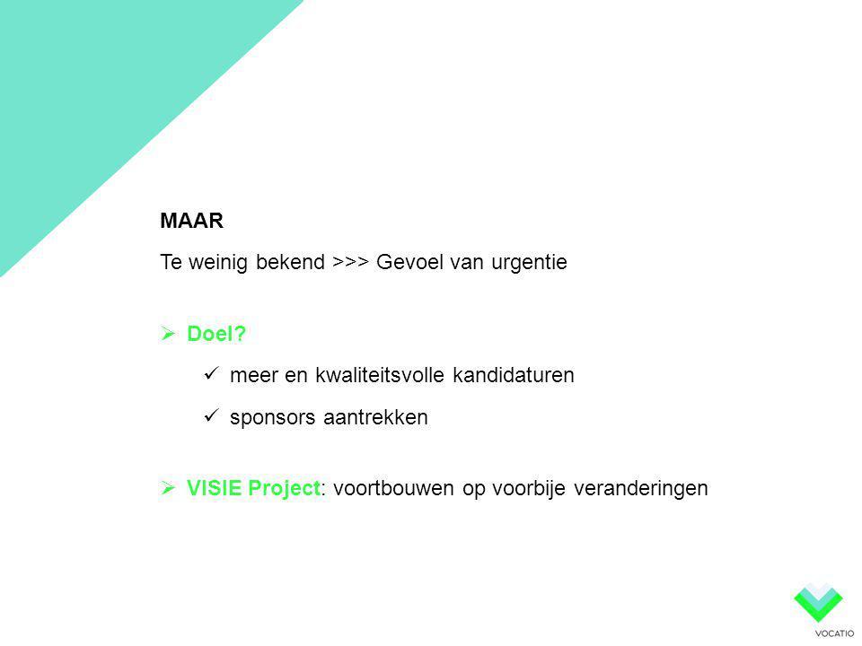 MAAR Te weinig bekend >>> Gevoel van urgentie  Doel?  meer en kwaliteitsvolle kandidaturen  sponsors aantrekken  VISIE Project: voortbouwen op voo