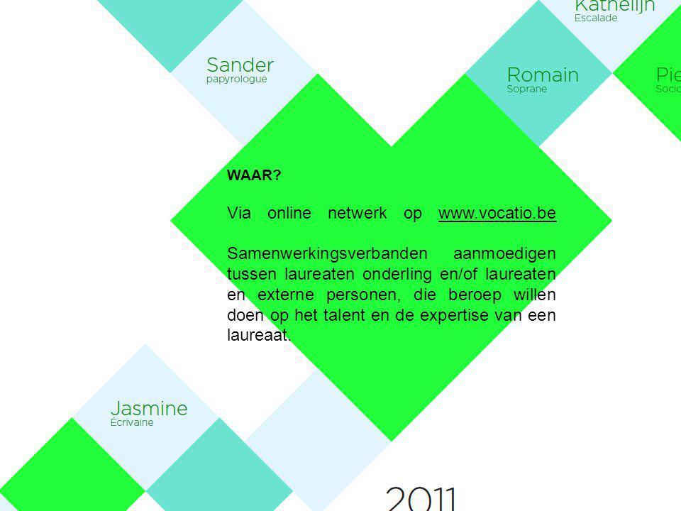 WAAR? Via online netwerk op www.vocatio.be Samenwerkingsverbanden aanmoedigen tussen laureaten onderling en/of laureaten en externe personen, die bero