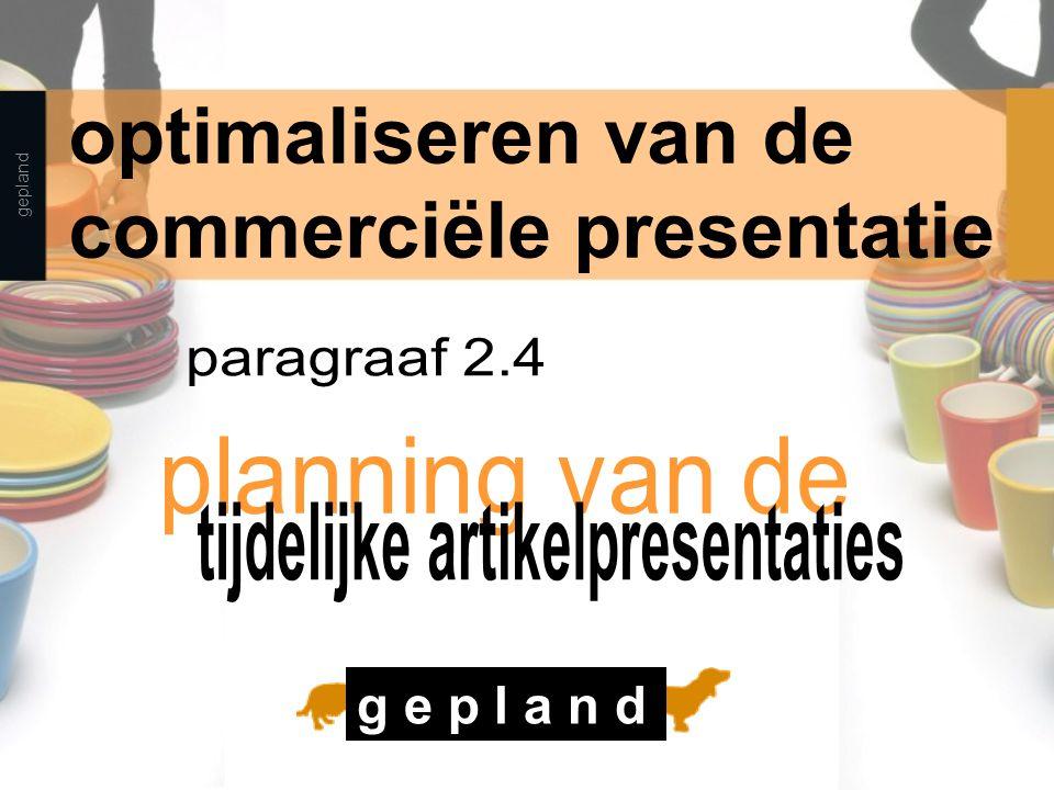 gepland optimaliseren van de commerciële presentatie g e p l a n d