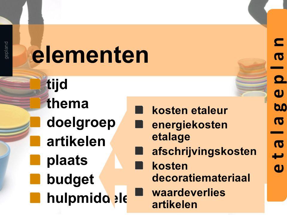 elementen tijd thema doelgroep artikelen plaats budget hulpmiddelen gepland thema voorraadpositie brutowinstbijdrage prijs kleur kosten etaleur energi