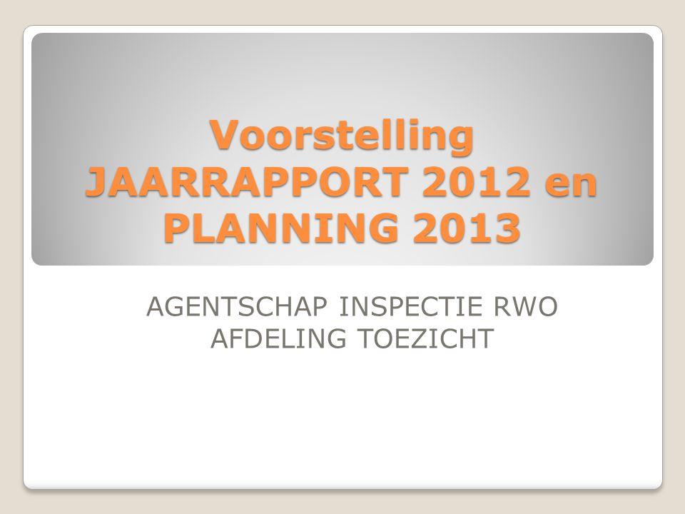Voorstelling JAARRAPPORT 2012 en PLANNING 2013 AGENTSCHAP INSPECTIE RWO AFDELING TOEZICHT