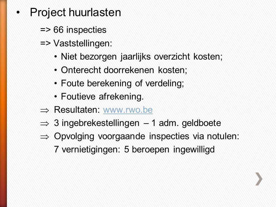 •Project huurlasten => 66 inspecties => Vaststellingen: •Niet bezorgen jaarlijks overzicht kosten; •Onterecht doorrekenen kosten; •Foute berekening of verdeling; •Foutieve afrekening.