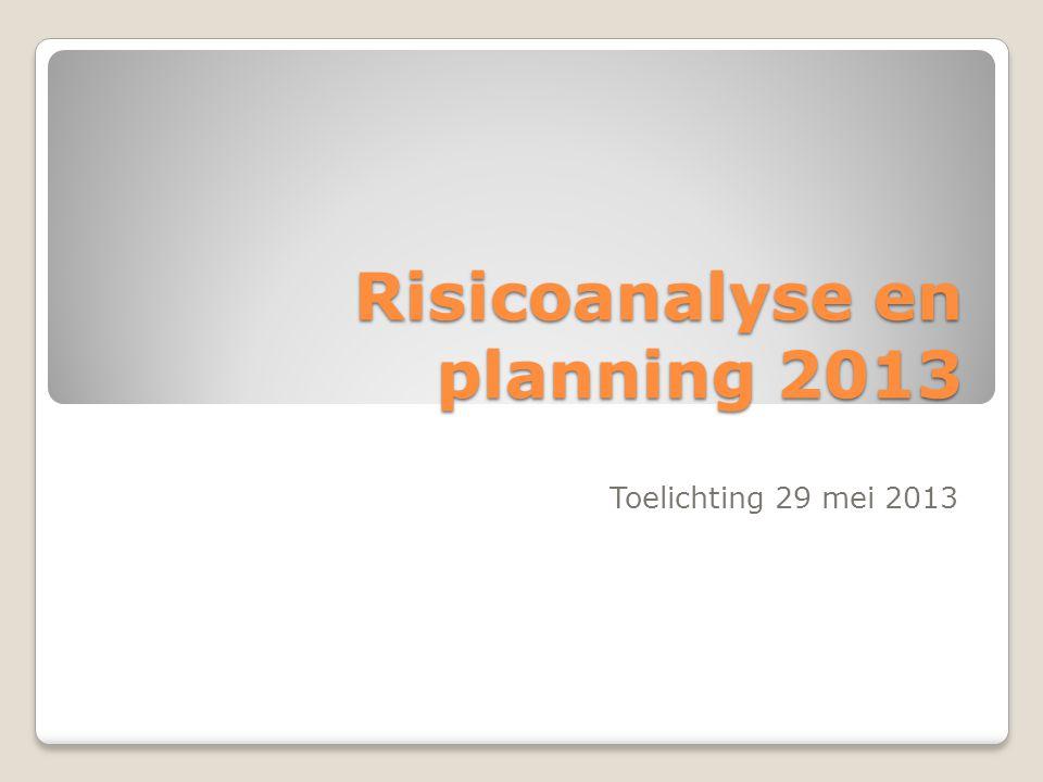 Risicoanalyse en planning 2013 Toelichting 29 mei 2013
