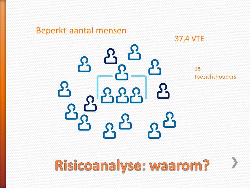 Beperkt aantal mensen 37,4 VTE 15 toezichthouders