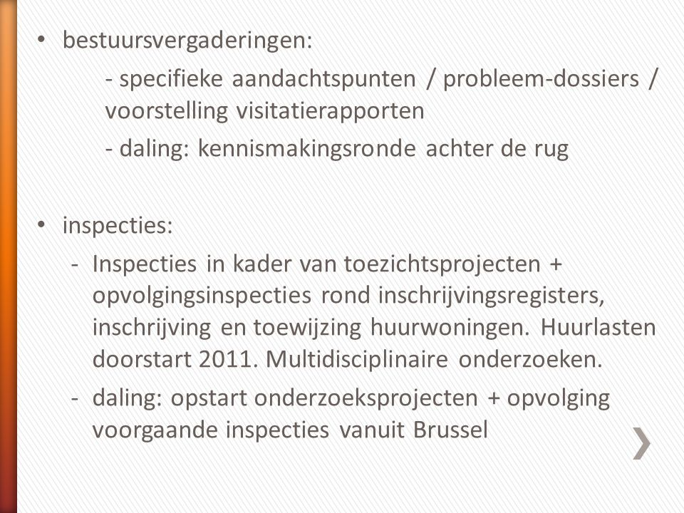 •Prioriteit: –> 67.000 euro zonder VMSW –< 67.000 euro –aanstelling ontwerpers •159 steekproeven op gunningen SHM's •6 beslissingen vernietigd •14 ingebrekestellingen OO •16 ingebrekestelling rapportering •Frequente substantiële vaststellingen: –gebrek aan concurrentie (ontwerpers, verzekeringen) –opsplitsingsproblematiek