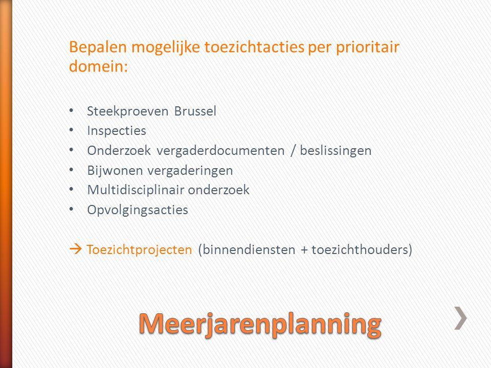 Bepalen mogelijke toezichtacties per prioritair domein: • Steekproeven Brussel • Inspecties • Onderzoek vergaderdocumenten / beslissingen • Bijwonen vergaderingen • Multidisciplinair onderzoek • Opvolgingsacties  Toezichtprojecten (binnendiensten + toezichthouders)