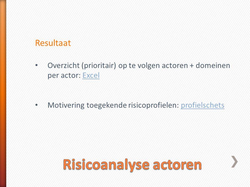 Resultaat • Overzicht (prioritair) op te volgen actoren + domeinen per actor: ExcelExcel • Motivering toegekende risicoprofielen: profielschetsprofielschets