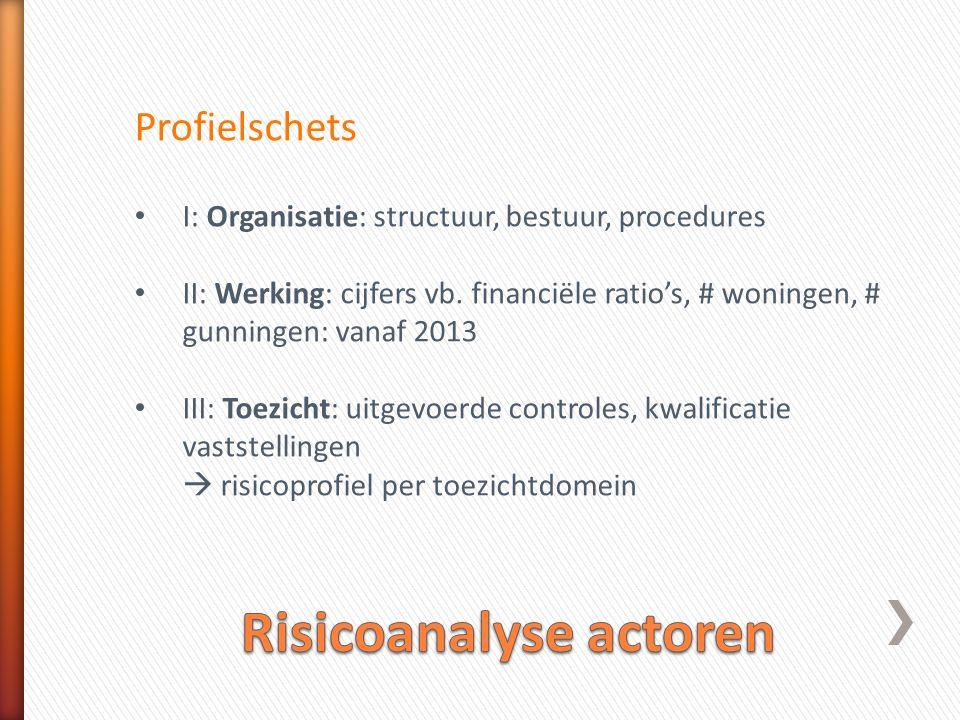 Profielschets • I: Organisatie: structuur, bestuur, procedures • II: Werking: cijfers vb.