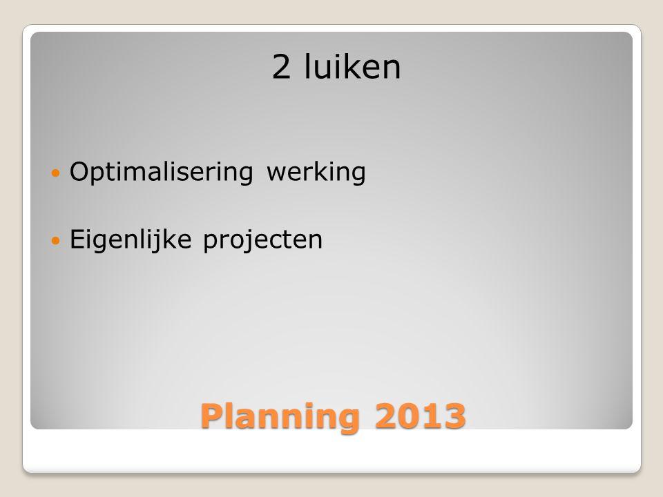 Planning 2013 2 luiken  Optimalisering werking  Eigenlijke projecten