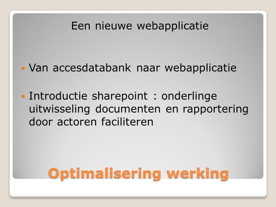 Optimalisering werking Een nieuwe webapplicatie  Van accesdatabank naar webapplicatie  Introductie sharepoint : onderlinge uitwisseling documenten en rapportering door actoren faciliteren